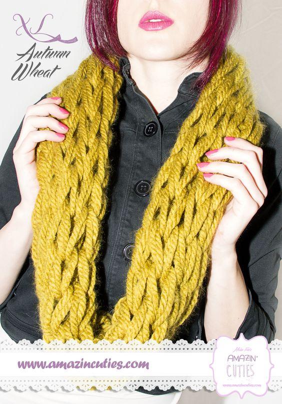 AUTUMN WHEAT Bufanda tipo cuello de lana gruesa 100% acrílica color trigo a 2