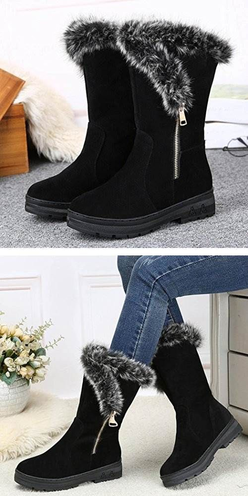 Details about  /Women Warm Winter Thick Snow Flat Short Boots Shoes Solid Snow Boots
