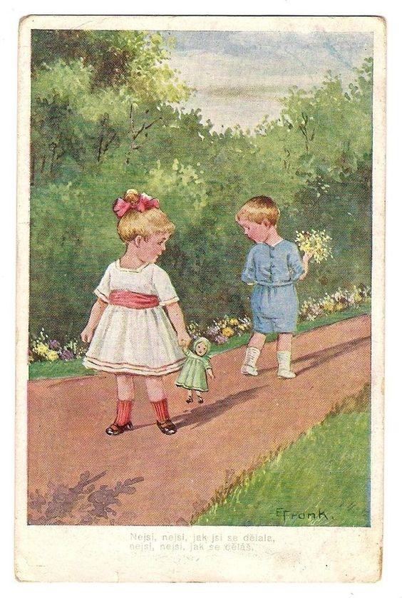 E. Frank, Kinder, Mädchen mit Puppe, 1918