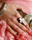 Calamity Cowgirl Cross Ring - Mother of Pearl