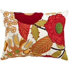Embroidered Floral Applique Pillow