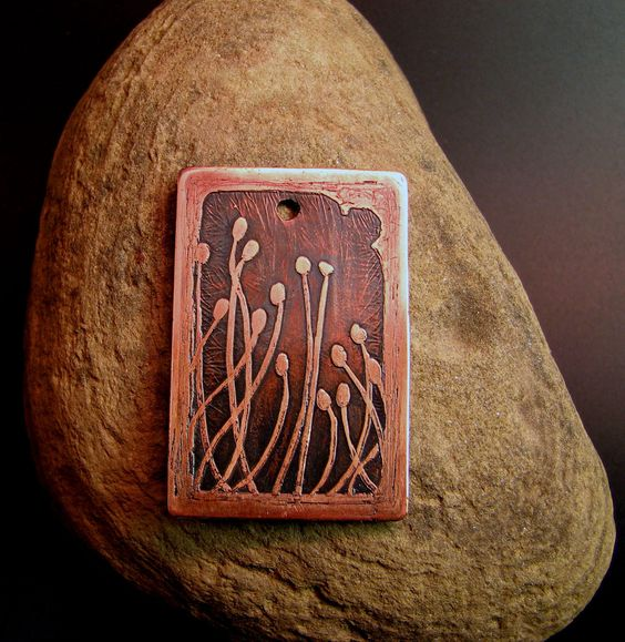 Season S End Acid Etched Copper Pendant My Handmade
