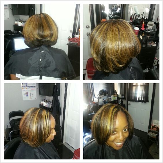 """Full weave, custom color extensions, #highlights #Brazilian 12"""" #haircut #HairbyRonned"""