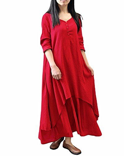 ZANZEA Ladies V-Neck Button Cotton Line Loose Long Maxi A-Line Irregular Hem Dress red 16. Material: Rayon (outer)+Polyester(inner). Color:Brick-red/White/Yellow. Sleeve Style: Half Sleeve. Package Include: 1 Dress. Our tag sizes are Asian sizes,Please check your size with our SIZE CHART before you buy it.Size may be 2cm/1 inch inaccuracy due to hand measure; Color may be little different due to monitor.