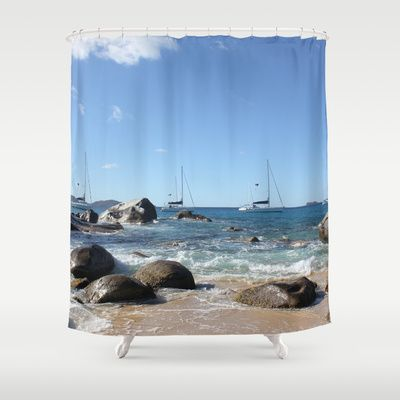 Sailing Boats at the Baths, BVI Shower Curtain | Sailing, Products ...