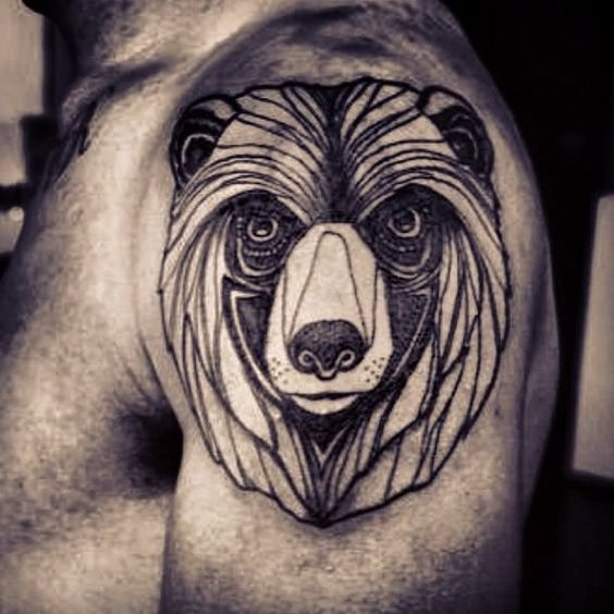 Bear Head Tribal Tattoo