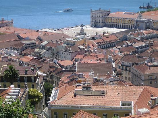 Praça do Comércio e Rio Tejo, vistos do Castelo de São Jorge - Lisboa (Lisbon), Portugal