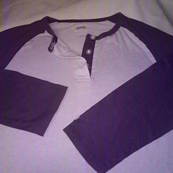 Baseball Tee Baseball Style T-Shirt  3/4 Sleeve Gently Used Dark Purple/Light Purple Soffe Tops