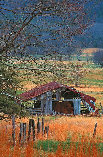 old barn still storing hay from the Smoky Mountains**