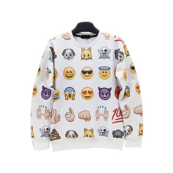 White Round Neck Emoji Emoticonos Sweatshirt (56.715 COP) ❤ liked on Polyvore featuring tops, hoodies, sweatshirts, white sweatshirt, white top and round neck top