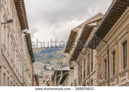 Low angle view of colonial classic style buildings at the historic center of Quito in Ecuador.