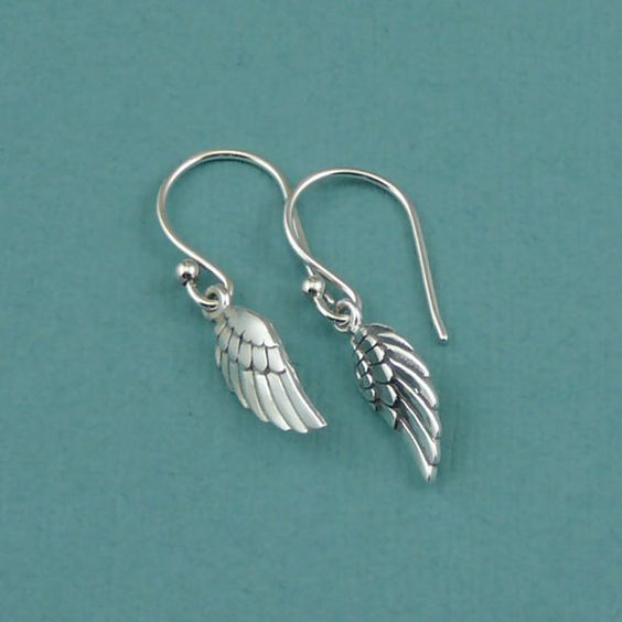 Angel Wing Earrings Sterling Silver