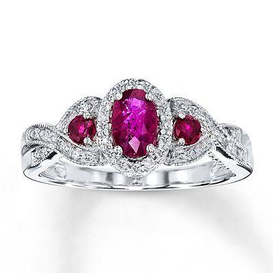 Natural Ruby Ring 1/10 ct tw Diamonds 14K White Gold