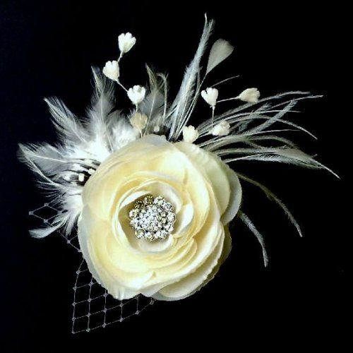 Bridal Hair Fascinator, Woodland Wedding Flower Feather Hairclip - MELIANA CRYSTALIA