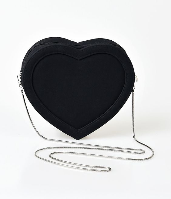 UniqueVintage Black Heart Crossbody Purse Detachable Shoulder Strap
