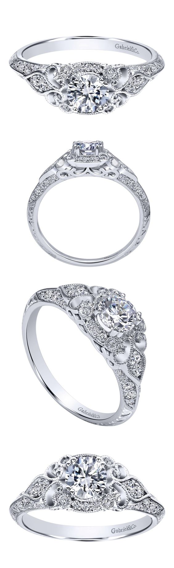 Looking for the perfect engagement ring to match with your vintage wedding? Check out this beautiful 14k White Gold Victorian Halo Engagement Ring by Gabriel & Co. For the classic woman in your life.