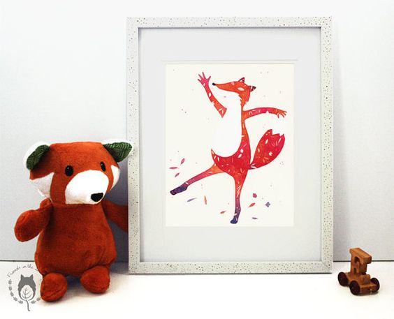 If I Were Autumn dancing fox nursery decor illustration by Friends in the Leaves