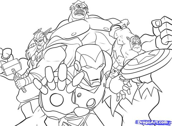 The Avengers Superheroes Coloring Page for kids Wallpaper | Party ...