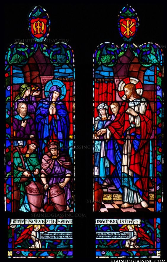 """""""Do as He Says"""" Religious Stained Glass Window"""