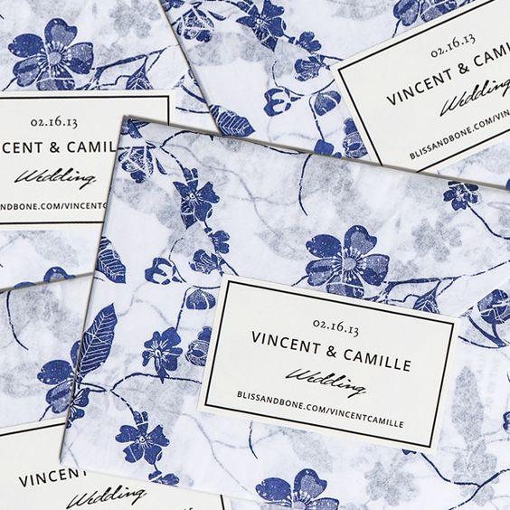 Devoir Collection / Letterpress Invitation / Floral Tissue Paper Wrap, Cream & Black Label