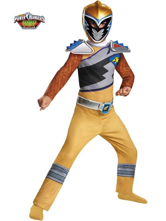 Check out Boys Gold Ranger Dino Charge Classic Costume - Cheap Power Rangers Costumes for Boys from Costume Discounters
