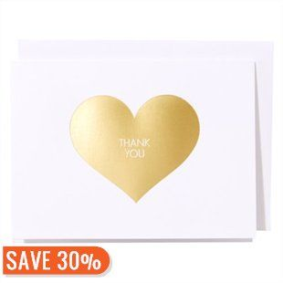 Gold Heart Thank You Notes
