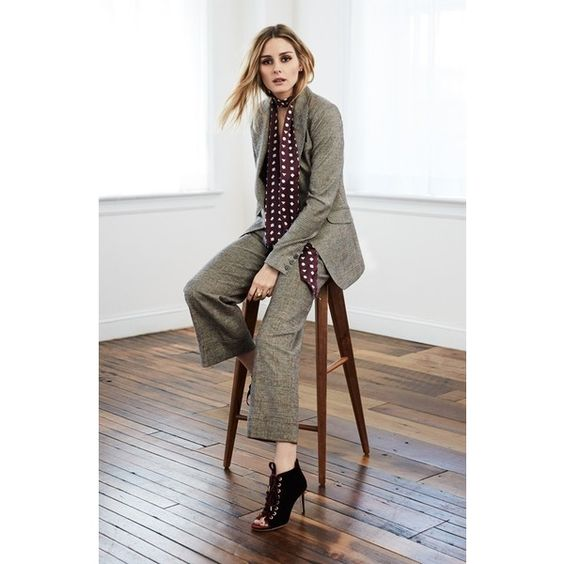 Women's Olivia Palermo + Chelsea28 Glen Plaid Crop Wide Leg Pants (280 BAM) ❤ liked on Polyvore featuring pants, capris, flat front pants, print crop pants, wide leg patterned pants, wide leg cropped trousers and brown pants