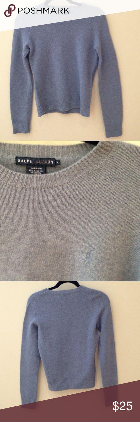 Ralph Lauren baby blue sweater 90% merino wool, 10% angora baby blue sweater. It has a small polo logo in the same color. Ralph Lauren Sweaters Crew & Scoop Necks