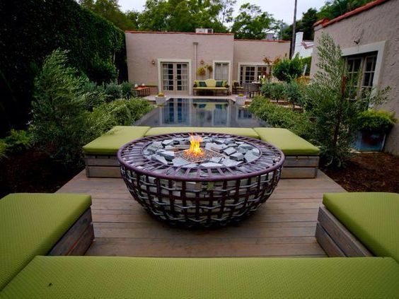 a more modern fire pit,, very comfortable seats..