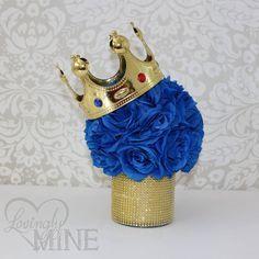 Principito inspiró centro de mesa florero de cristal, perfecto para cualquier evento - azul y oro - fiesta de cumpleaños, Baby Shower, bautizo, bautismo