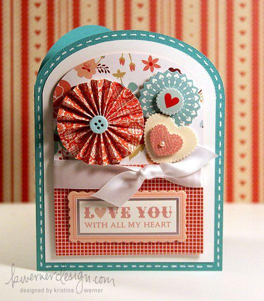 'Love you with all my heart' card. Tarjeta con rosetones de papel