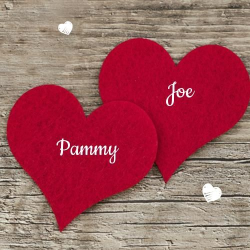 Romantic Couple Red Heart Greeting Card With Lover Name With