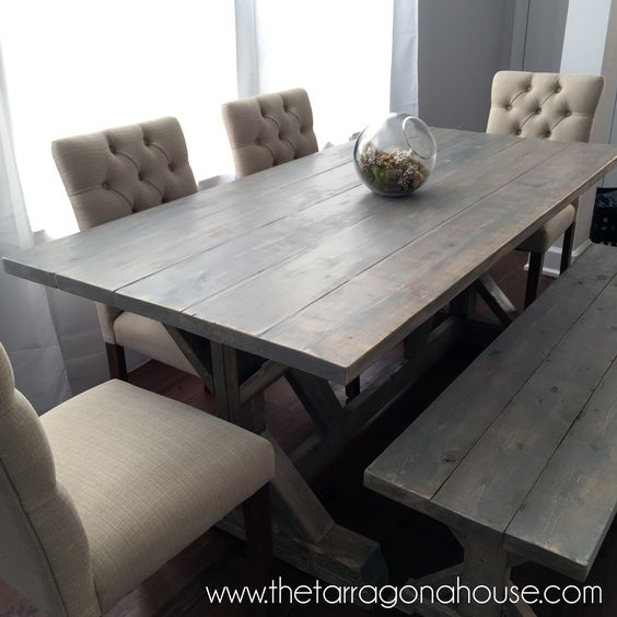 Ana White Dining Room Table: Weathered Wood Finish Farmhouse Table