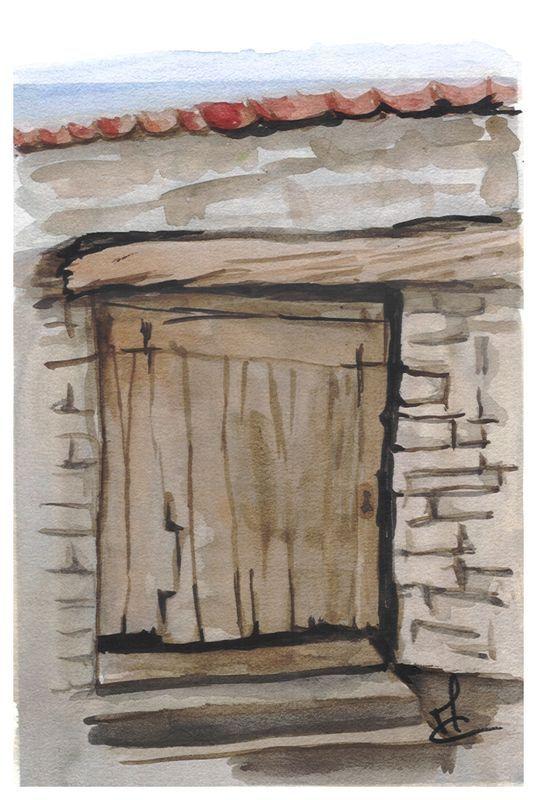 2 aquarelles by Mae Maevina Aquarelle Portes \ fenêtres II - peinture porte et fenetre