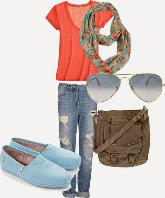 Spring Fashion Inspiration, love the colors, the floral scarf, the TOMS!
