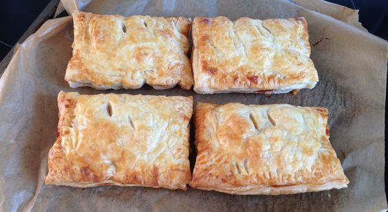 Homemade sausage, bean and cheese breakfast pastry