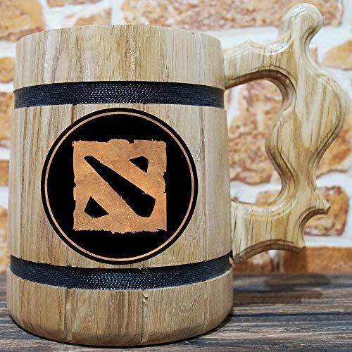 Gamer Engraved Beer Stein Gift DotA Mug DotA Wooden Beer Mug Handmade Wooden Tankard