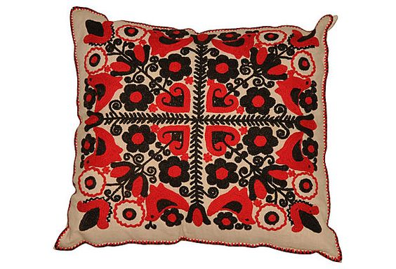Pillow w/ Antique Hungarian Embroidery on OneKingsLane.com