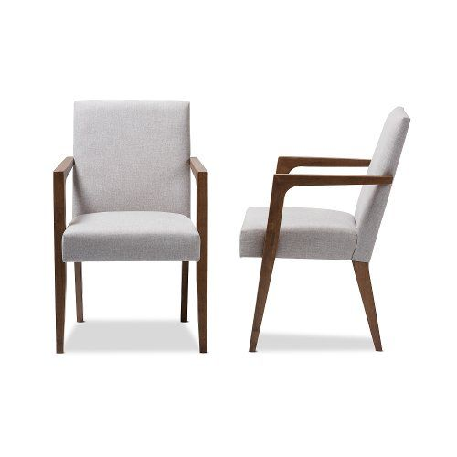 Mid Century Modern Gray Beige Accent Chair Set Of 2 Andrea