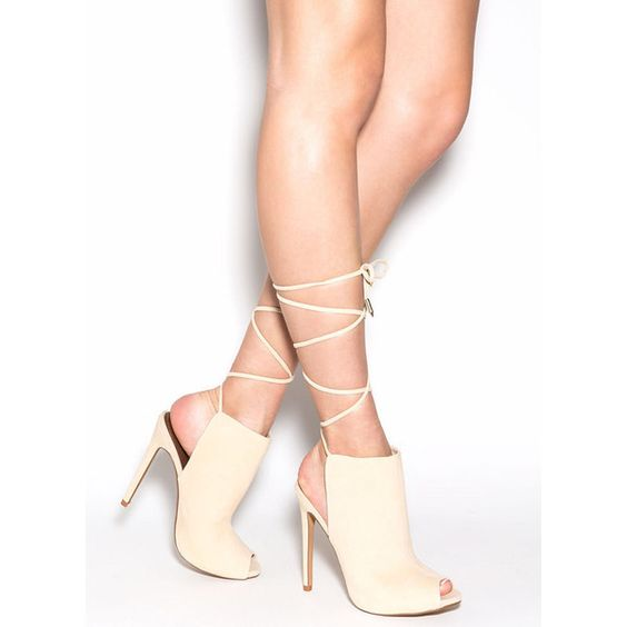Classy Act Lace-Up Mule Heels NUDE ($38) ❤ liked on Polyvore featuring shoes, tan, peep-toe shoes, lace up stilettos, peep toe mules, stilettos shoes and lace high heel shoes