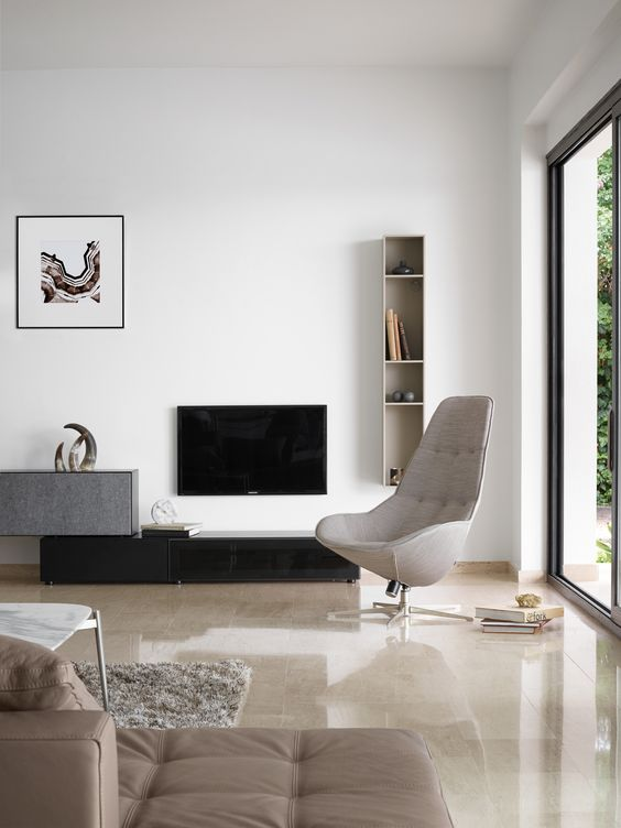 Peaceful tones of grey and beige | Lugano wall system & Boston Chair