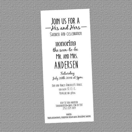 His Hers Wedding Invitations Templates: Personalized His And Hers Wedding Shower Invitation