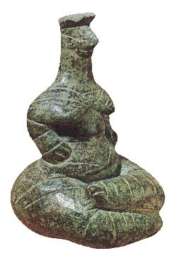 "Archaeologist Marija Gimbutas describes this figure as an,""anthropomorphic terracotta figurine of a crowned snake goddess from Kato Ierapetra, Neolithic Crete. The legs are formed like snakes. Disconnected lines cover the breasts and shoulders and extend over the lower back."" Graphics-Crete & Mycenae - Ceramic History Tutorials for Potters and Clay Artists"