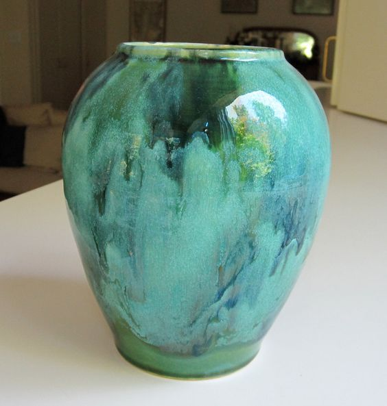 Brush McCoy Green Onyx Arts and Crafts Vase Marbled. $12.00, via Etsy.
