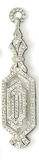 Art Deco jewellery, a pair of lorgnettes, of spring action design, the carved rock crystal case with applied single-cut diamond geometric detail, within a single-cut diamond surround, to single and brilliant-cut diamond pierced base and surmount, 7.0 cm long.