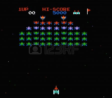 old computer game galaxian Stock Vector