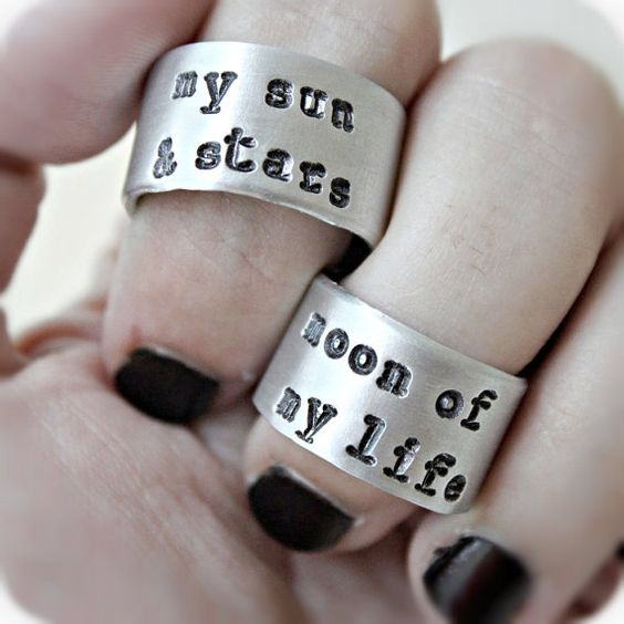 Hey, I found this really awesome Etsy listing at https://www.etsy.com/listing/195101463/sun-moon-stars-wedding-band-ring-set