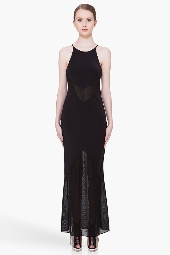BY ALEXANDER WANG Black Silk Mesh Dress