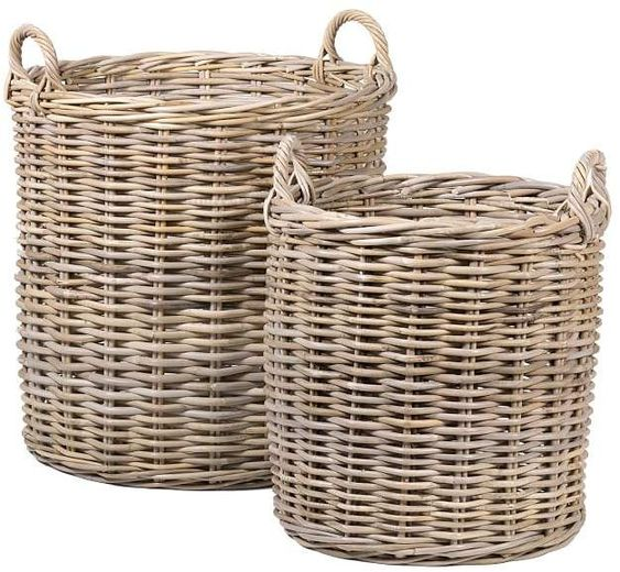 Lovely and stylish, these rustic round baskets are the answer to your storage needs. The Portland Round Tote Baskets marry form and function, storing blankets and clothes, or sorting laundry, indoor trees and more.