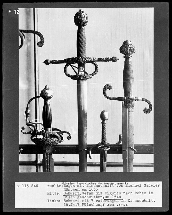 Swords, circa 1540. Held at Germanische Nationalmuseum (website: www.gnm.de/) The Germanic National Museum is the largest museum of cultural history of the German language area. It is through his scientific expertise museum-wide standards and is due to its high scientific reputation as a trusted reference in the museum landscape.